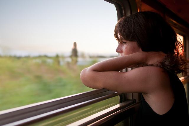 Sunset on Train