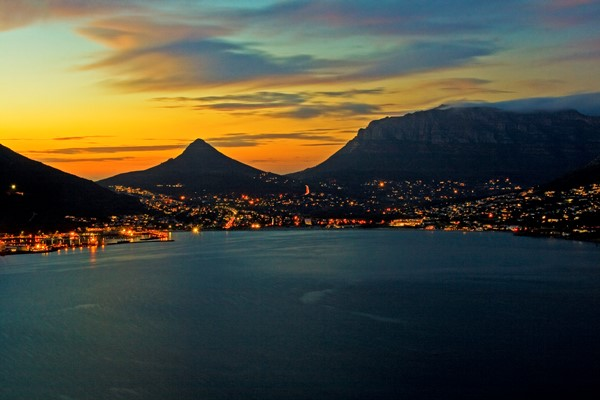 A view across Hout Bay  Harbour shortly after sunset. Taken from Chapman's Peak, Cape Town.