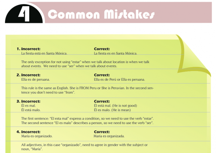 Spanish At Home - Common Mistakes